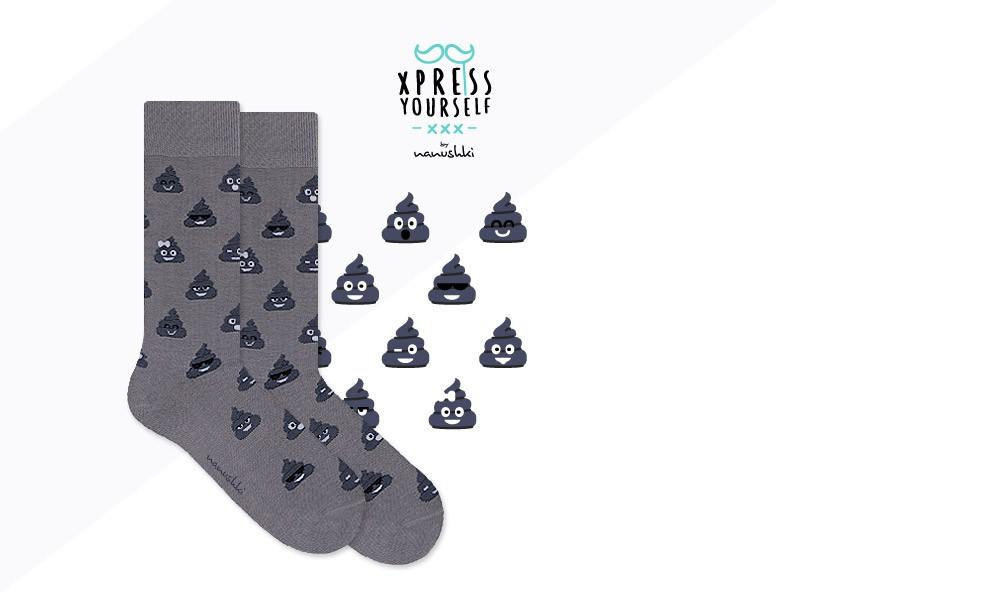 Skarpetki Happy Grey Poo Socks