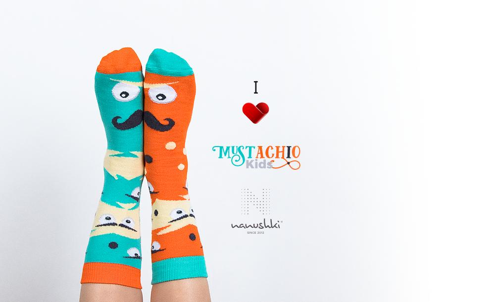 Kolorowe skarpetki Mustachio
